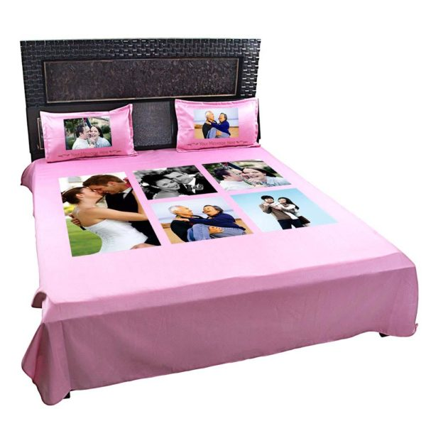 Personalized Photo Collage Double Bedsheet with Pillow Covers