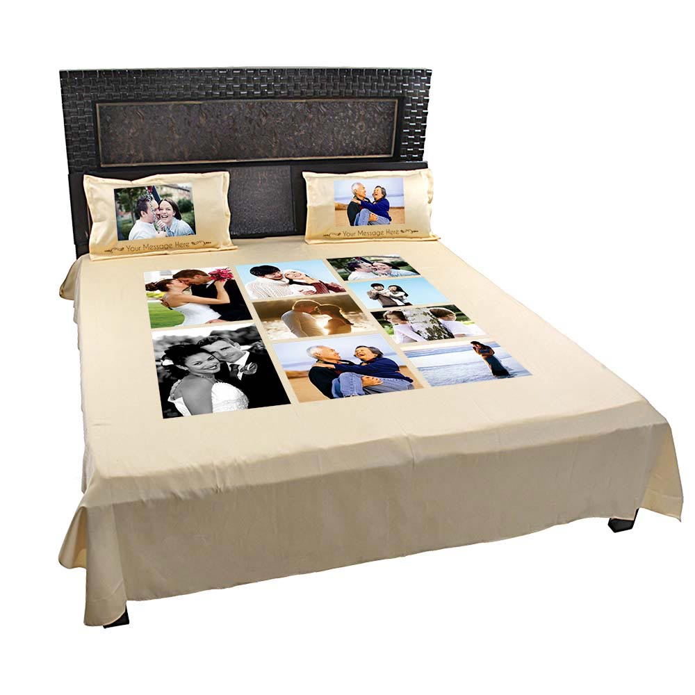 Personalized 9 Photo Collage Double Bed sheet with Pillow Covers