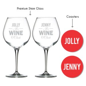Personalised It's Wine O Clock Premium Stem Glass With Coaster