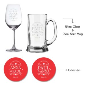 Personalised Our Wedding Wine Glass & Beer Mug With Coaster