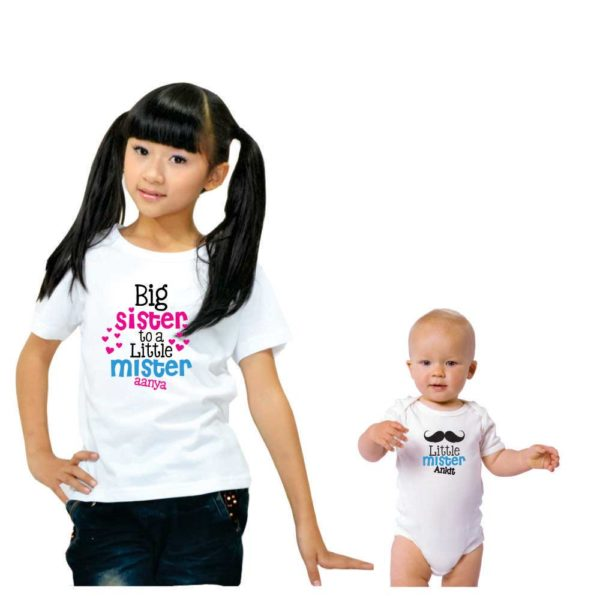 Personalized Big Sister To a Little Mister Sibling T shirts_white