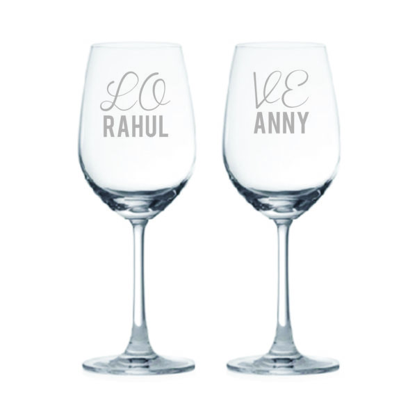 Personalized Engraved Love Wine Glasses