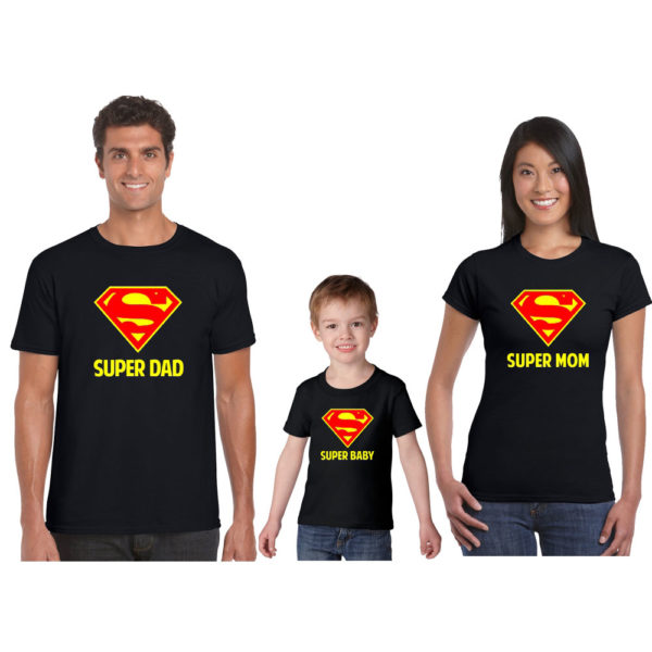 Personalized Super Hero Mom Dad Child Family T-shirt