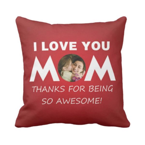 Personalized I Love You Mom Photo Cushion Cover