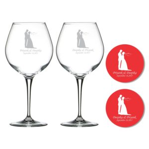 Personalized Just Married Couple Premium Wine Glasses Coaster