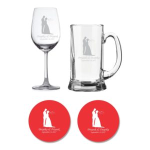 Personalized Just Married Couple Wine & Beer Glasses Coaster