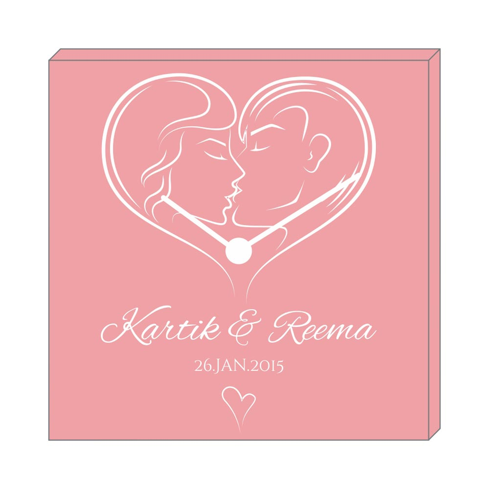 Personalized Kissing Couple XOXO Canvas Wall Clock