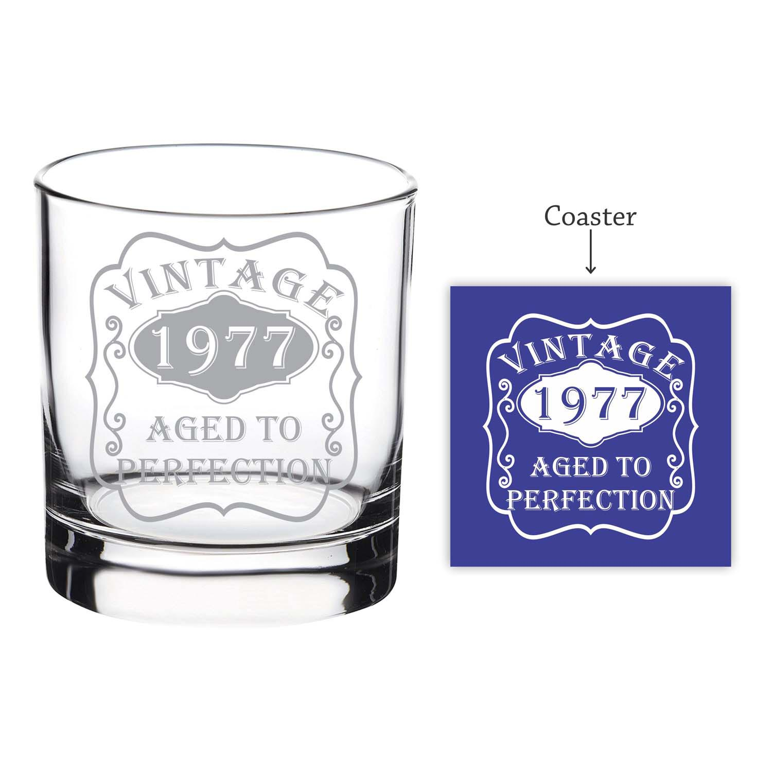 Personalized Vintage Aged to Perfection Whiskey Glass
