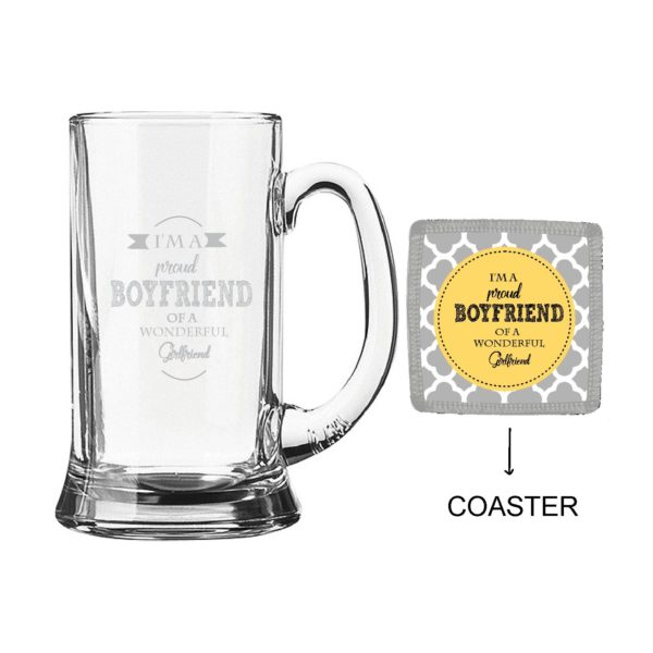 Engraved Proud Boyfriend of Wonderful Girlfriend Beer Mug
