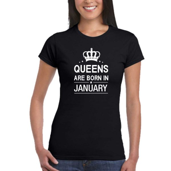 Queens are Born In January Women Birthday T-shirt