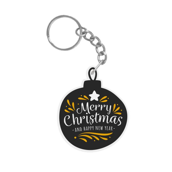 Chalkboard Merry Christmas and Happy New Year Xmas Ornament keychain