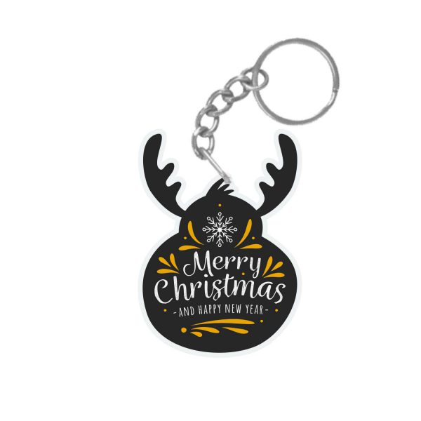 Reindeer Shaped Merry Christmas and Happy New Year keychain