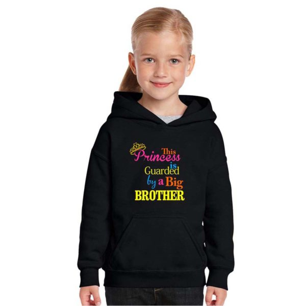 SKU_This Princess is Guarded By a Big Brother Kids Sweatshirt (Black) TS1227