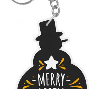 Snow man Shaped Merry Christmas and Happy New Year keychain