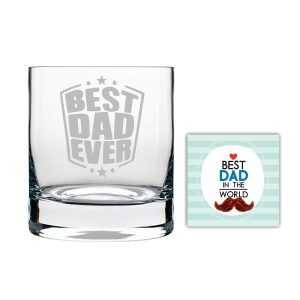 Starry Best Dad Ever Whiskey Glass