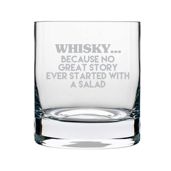 Start a Story With Whisky Engraved Whiskey Glass
