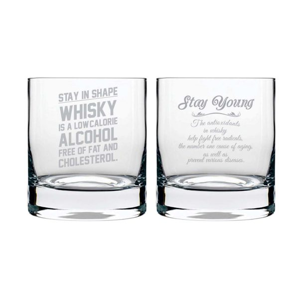 Stay Young And in Shape Engraved Whiskey Glasses - Set of 2
