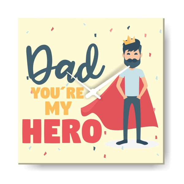 You are My Hero Dad Canvas Wall Clock