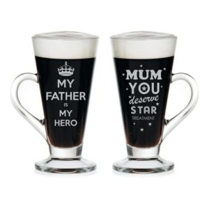 Super Dad Wow Mom Engraved Tea Mugs