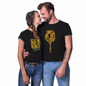 TS1974_Whskey Wine Couple T-shirt_Black