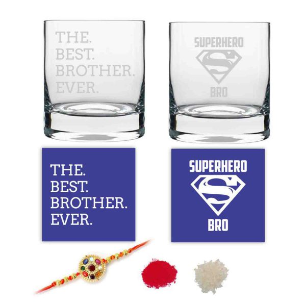 The Best Brother Ever Whiskey Glasses Set of 2 With Rakhi