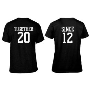 Together Since 2012 Rond neck Couple T-shirt_Black