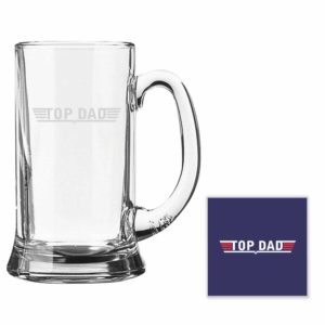 Engraved Top Dad Beer Mugs