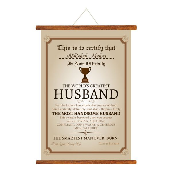 World Greatest Husband Greeting Card Scroll