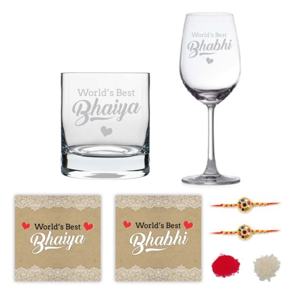 Engraved Worlds Best Bhaiya Bhabhi Whiskey and Wine Glasses
