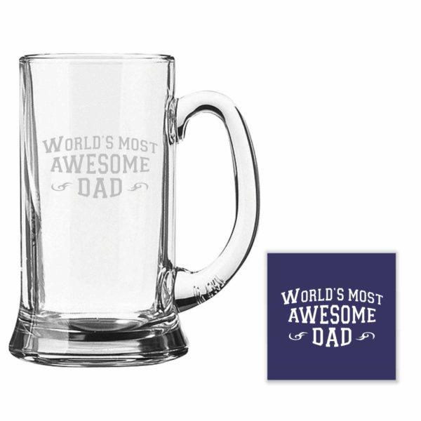 Engraved Worlds Most Awesome Dad Beer Mugs