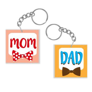 Awesome Mom Dad Couple Keychain Keyring
