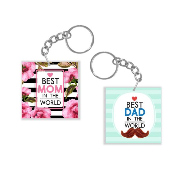 Floral Best Mom Dad Couple Keychain Keyring