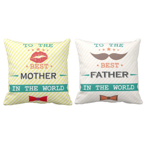 Best Mother Father in the World Cushion Cover Set of 2