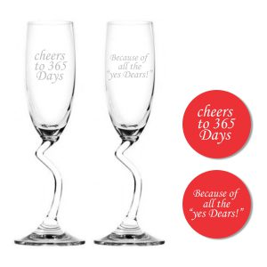Cheers 1st Marriage Anniversary Champagne Flutes