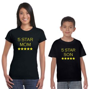 five star mom and son family tshirt black
