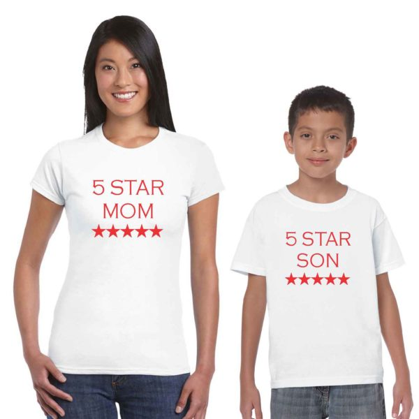 five star mom and son family tshirt white