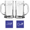 Engraved King Queen Beer Mug