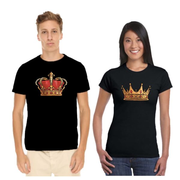 Crown King Queen Couple T-shirt
