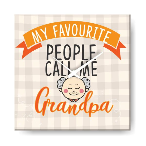 My Favourite People Call me Grandpa Canvas Wall Clock