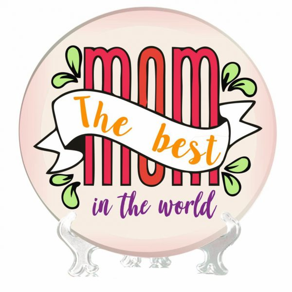 Colorful Best Mom in the World Decorative Plate