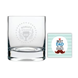 Worlds Greatest Dad Trophy Whiskey Glass