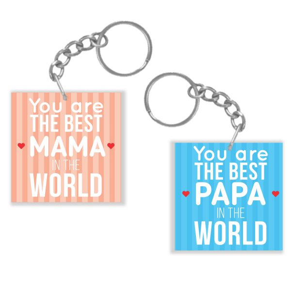Best Mama Papa Couple Keychain Keyring