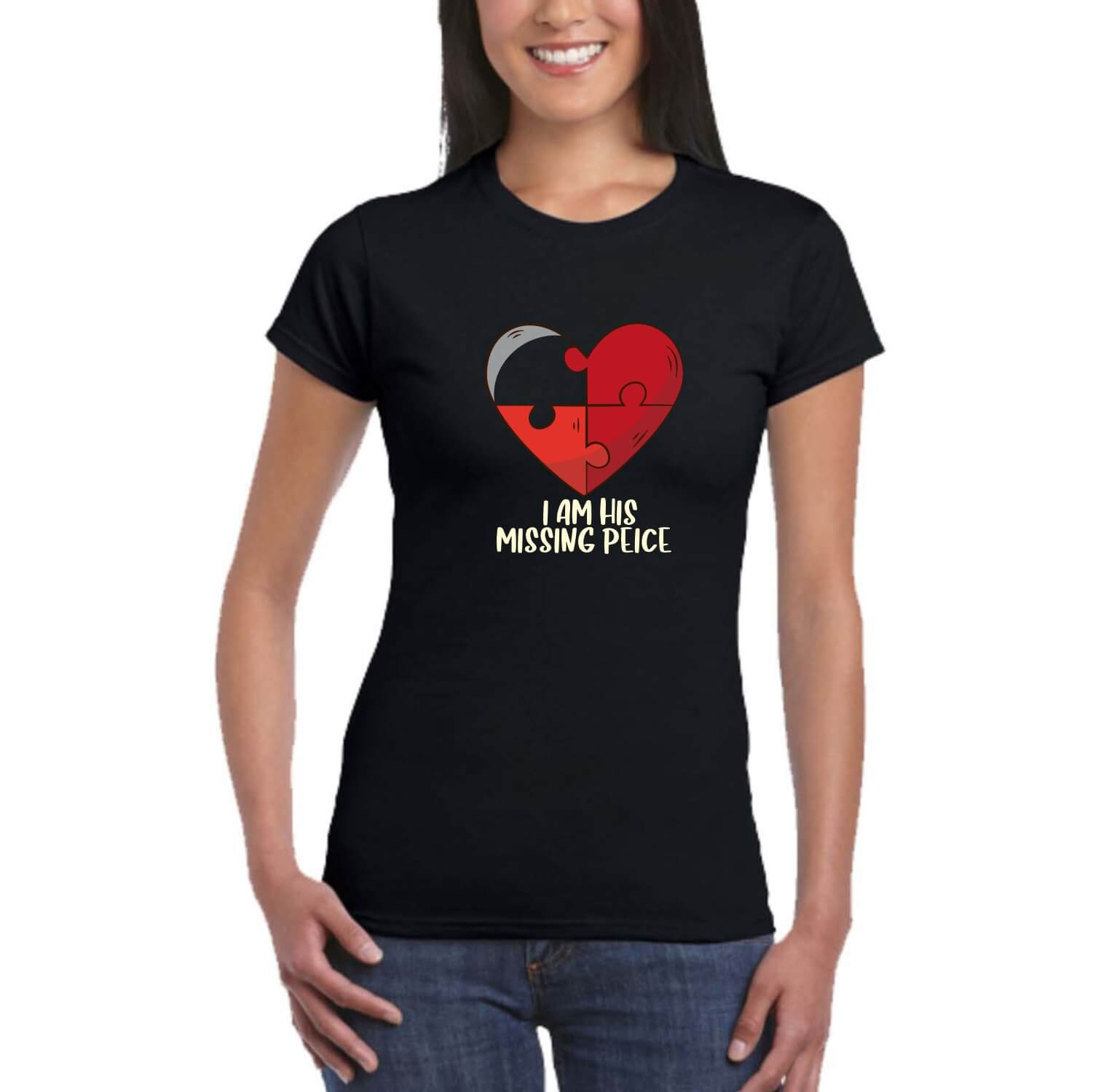 8efa1625b His Her Missing Piece Couple T-shirt For Valentine Day Gifts | Giftsmate