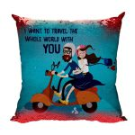 Valentine Gifts for Boyfriend Husband Magic Cushion Cover Sequins Red I Want to Travel World with You Love Printed Throw Pillow (4)
