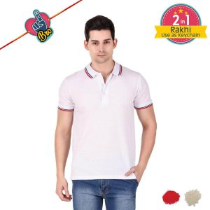 White Mens Tipping Polo T-shirt