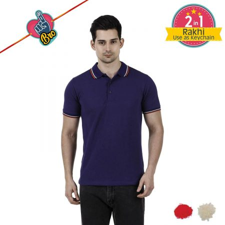 Navy Blue Mens Tipping Polo T-shirt
