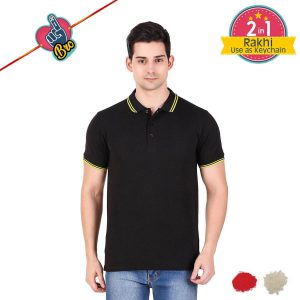 Black Mens Tipping Polo T-shirt